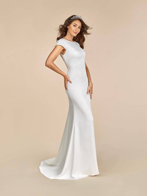 Moonlight Tango T882 contemporary satin wedding dress with sabrina neckline
