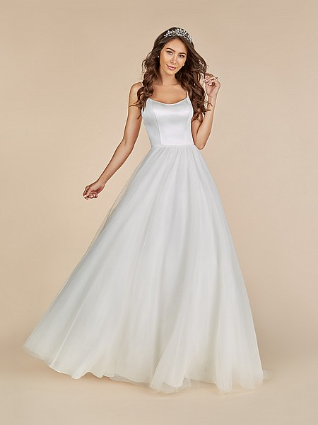 Moonlight Tango T883 A-line wedding gown with scoop neckline and sparkle tulle skirt