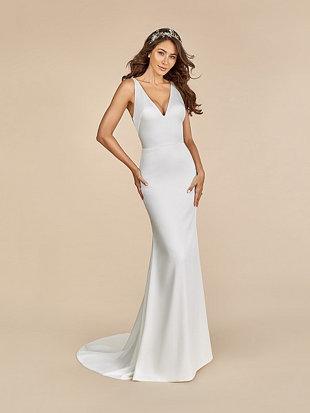 Moonlight Tango T884 simple and chic wedding dress with deep v-neckline