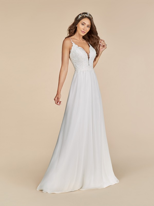 Moonlight Tango T885 chiffon dress with sweetheart neckline and beaded straps