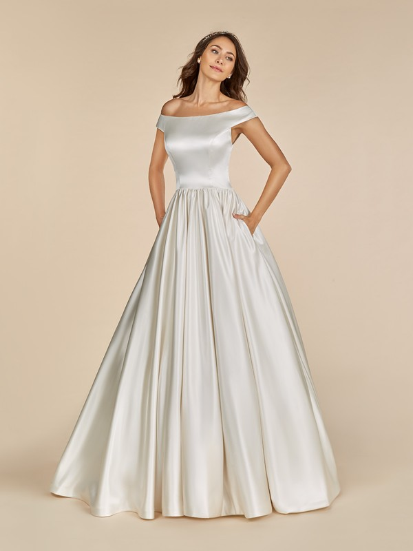 Moonlight Tango T886 satin ball gown with off the shoulder cap sleeves and side pockets