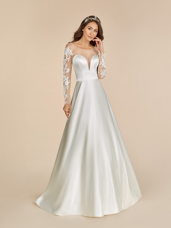Moonlight Tango T887 satin wedding dress with high bateau neckline and long lace sleeves
