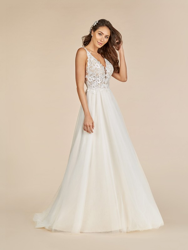 Moonlight Tango T888 unlined v-neck wedding dress with rose net fabric