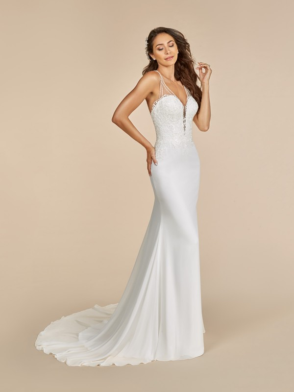 Moonlight Tango T889 chiffon mermaid wedding dress with deep v-neck and beaded straps