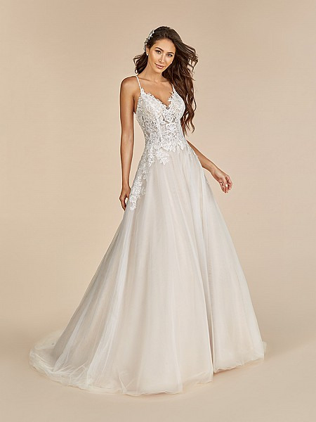 Moonlight Tango T890 tulle wedding dress with unlined lace bodice and thin straps