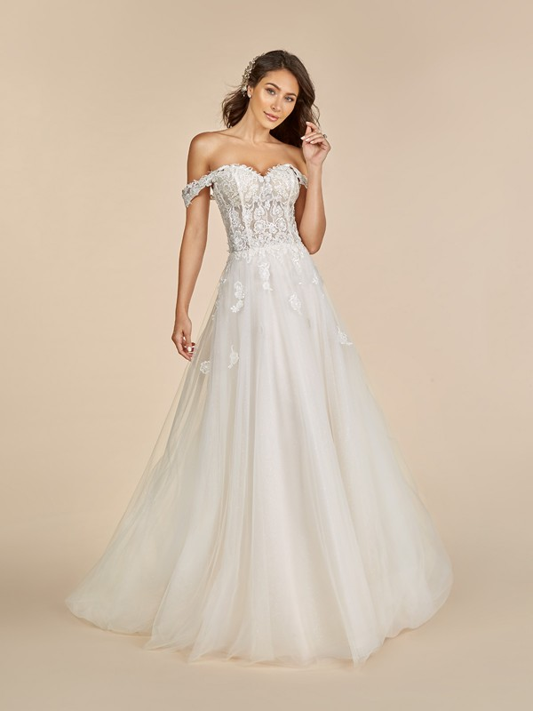 Moonlight Tango T891 sweetheart neckline wedding dress with swag sleeves and sparkle tulle skirt