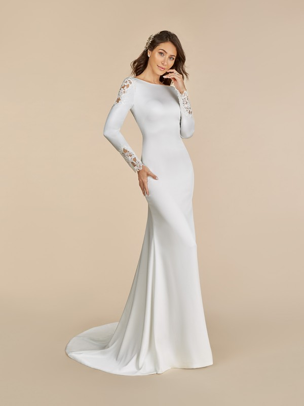 Moonlight Tango T892 crepe back satin wedding dress with sabrina neckline and long sleeves