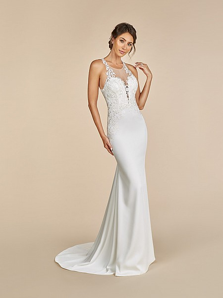 Moonlight Tango T893 crepe back satin mermaid gown with illusion scoop neck