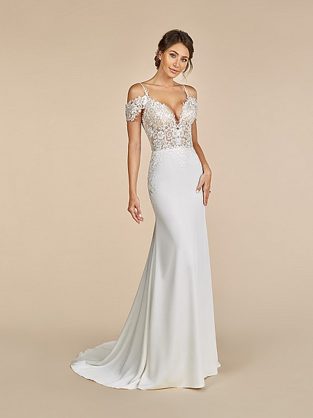 Moonlight Tango T894 crepe back satin sweetheart neckline dress with off the shoulder sleeves and lace straps