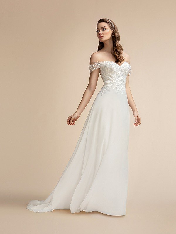 Off-the-shoulder Chiffon A-line Gown with Sweetheart Neckline Moonlight T902