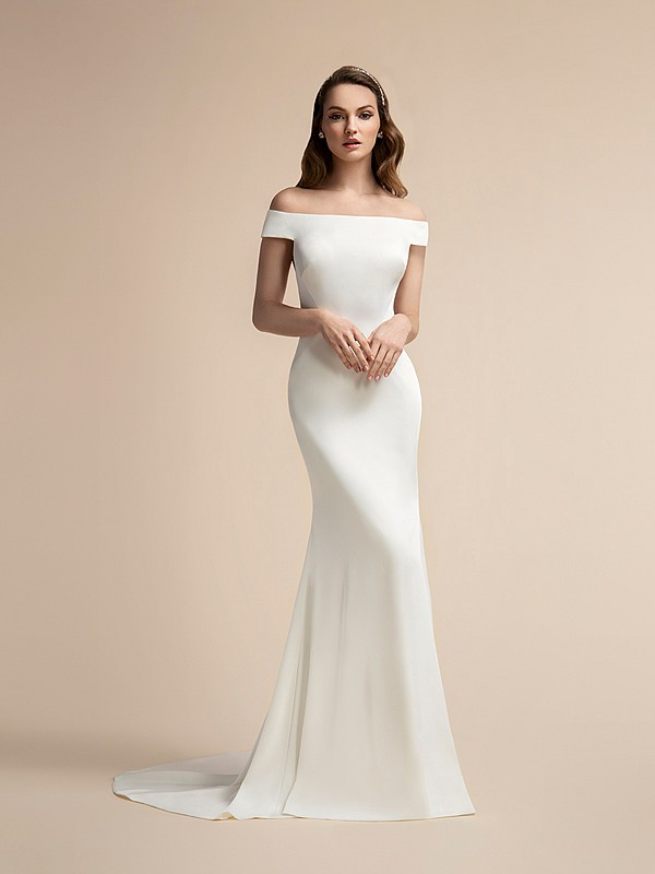 Sexy Crepe Mermaid Wedding Dress with Off-the-Shoulder Sleeves Moonlight T904