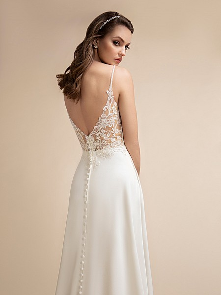 Simple Crepe A-line Wedding Dress with Low Lace Back & Thin Straps Moonlight T905