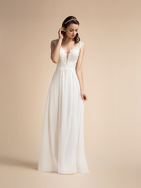 Chiffon Beach Wedding Dress with Sweetheart Neckline and Straps Moonlight T906