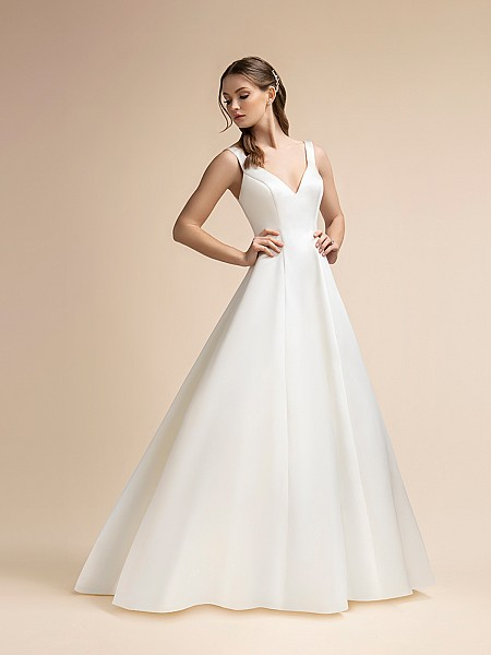 Simple Satin A-line Wedding Dress with V-neckline and Side Pockets Moonlight T908