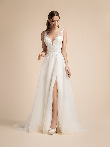 Tulle A-line Bridal Gown with Leg Slit and illusion Straps Moonlight T909