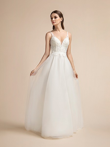 Lace Bodice Flowy A-line Wedding Dress with Sweetheart Neckline and Illusion Straps Moonlight T911