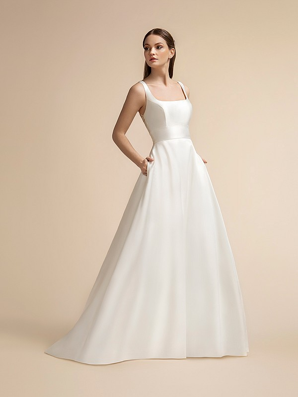 Sleek Mikado Full A-line Wedding Dress with Square Neckline and Pockets Moonlight T913