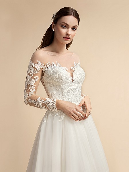 Romantic Long Illusion Lace Sleeve A-line Wedding Dress Moonlight T914