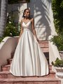 Moonlight Tango T921 classic full A-line satin bridal gown with ruched sweetheart neckline and thin spaghetti straps