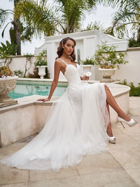 Moonlight Tango T924 destination wedding dress with front skirt lining slit A-line gown with lace bodice