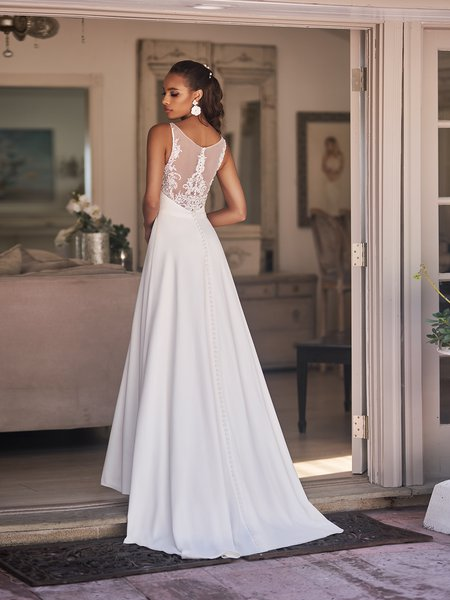Moonlight Tango T925 chic crepe wedding dress with illusion bateau back lace appliques and couture belt at waist with sweep train