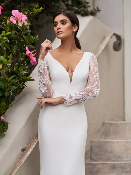 Moonlight Tango T928 stretch crepe deep V-neck with illusion inset mermaid with long illusion sleeves and lace accented waistline
