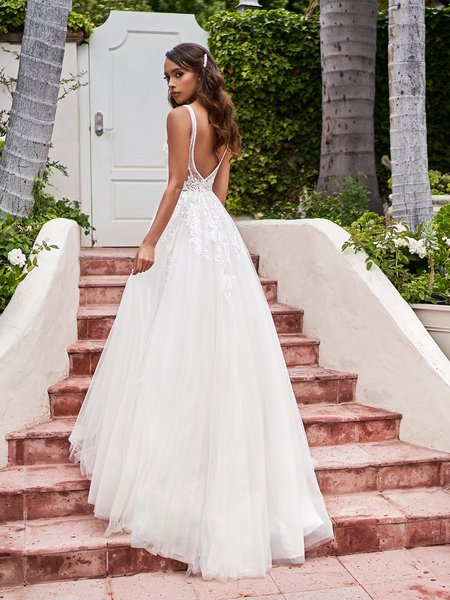 Moonlight Tango T930 beaded trim and lace appliques decorated deep illusion V-back with button closure net full A-line gown