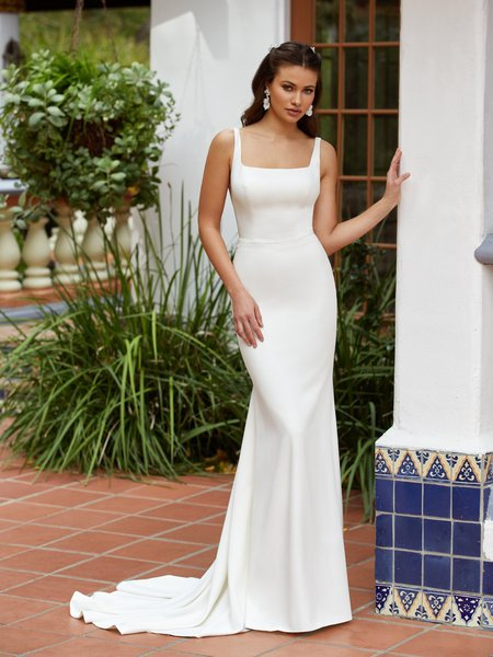 Moonlight Tango T933 Simple Crepe Square Neckline with Straps Mermaid Gown With Beaded Waist Sash