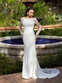 Moonlight Tango T940 Sleek Regal Crepe Mermaid Bridal Gown With Bateau Neckline And Illusion Lace Long Sleeves