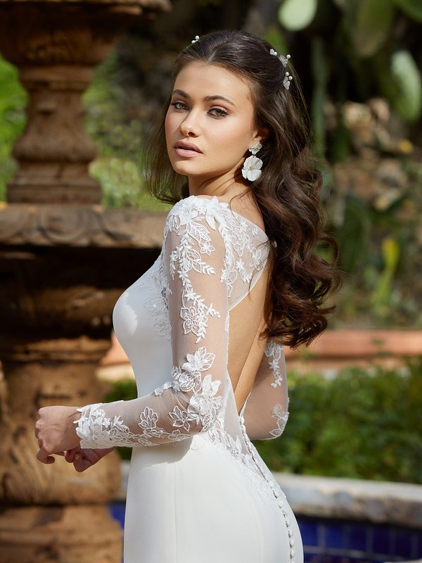 Moonlight Tango T940 Classy Long Illusion Sleeve Wedding Dress With Embroidered Floral Lace Appliques And Illusion Keyhole Back
