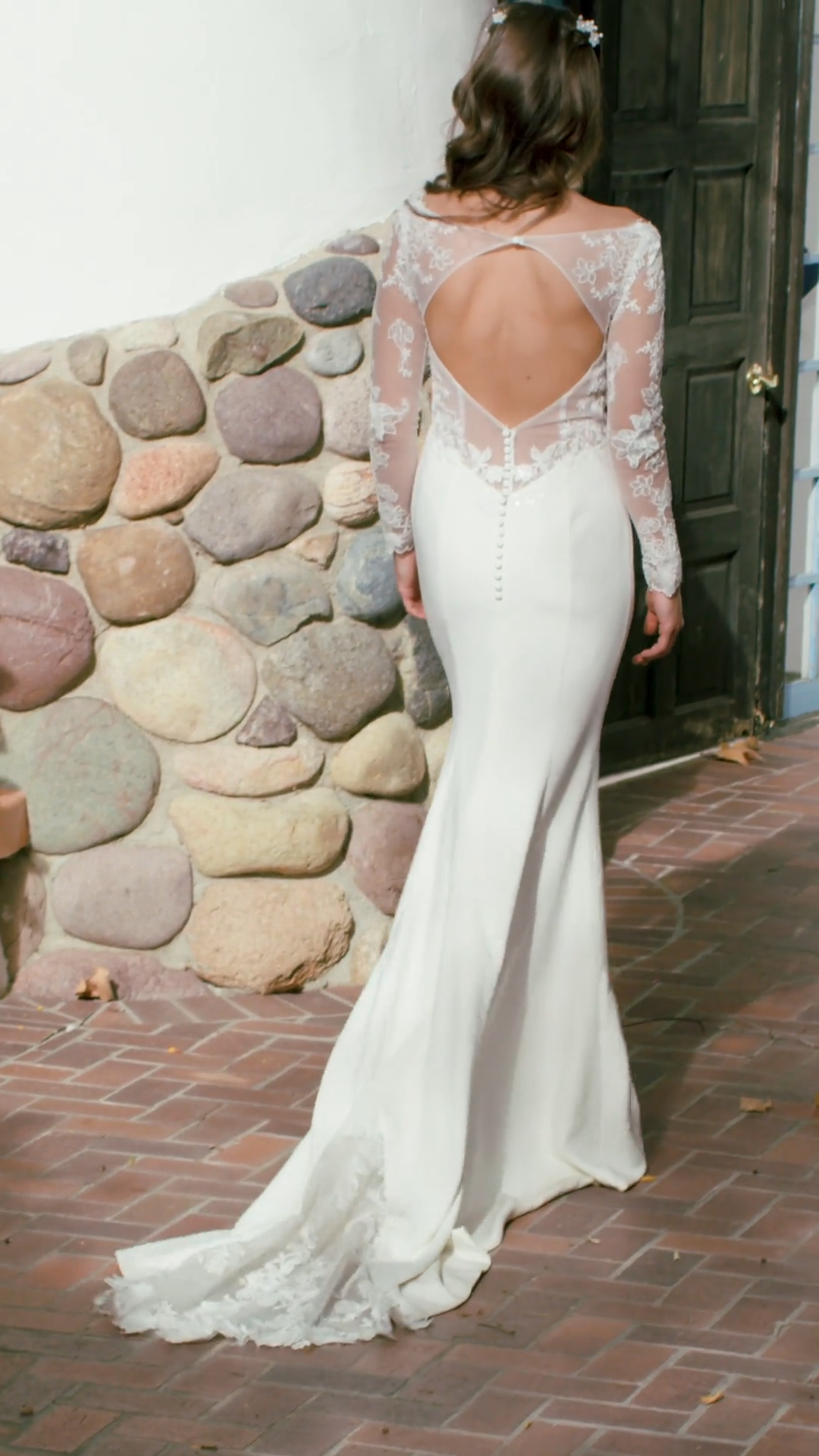 Moonlight Tango T940 Dreamy Crepe Mermaid Bridal Gown With Illusion Long Sleeves and Keyhole Back With Lace Cutout Sweep Train